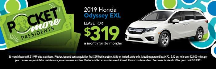 2019 Odyssey EXL Lease Special