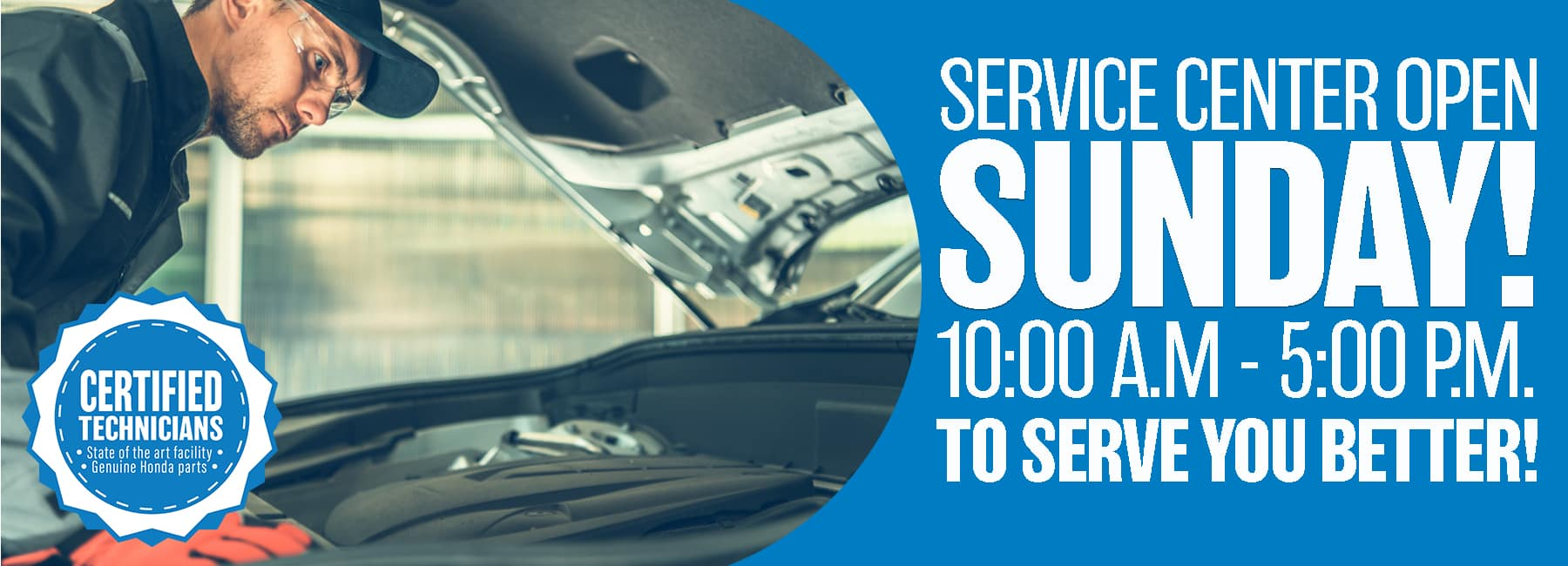 Service department open Sundays