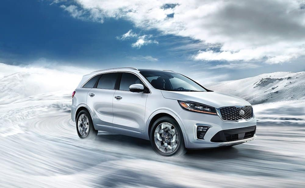 2019 Kia Sorento in white in the snow