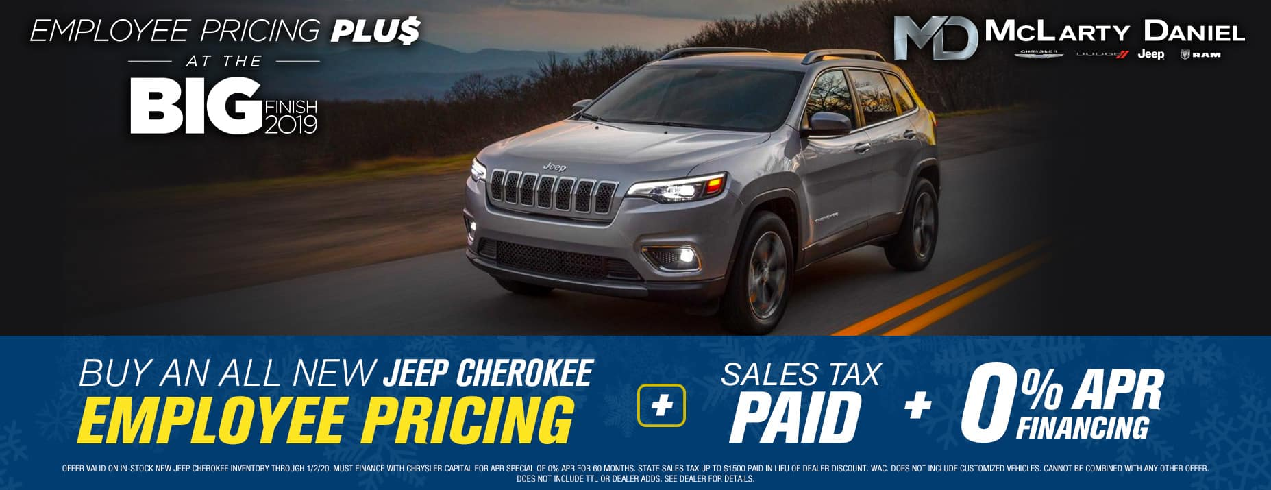 EMPLOYEE PRICING FOR EVERYONE ON JEEP CHEROKEE -PLUS- 0% APR -PLUS- SALES TAX PAID!