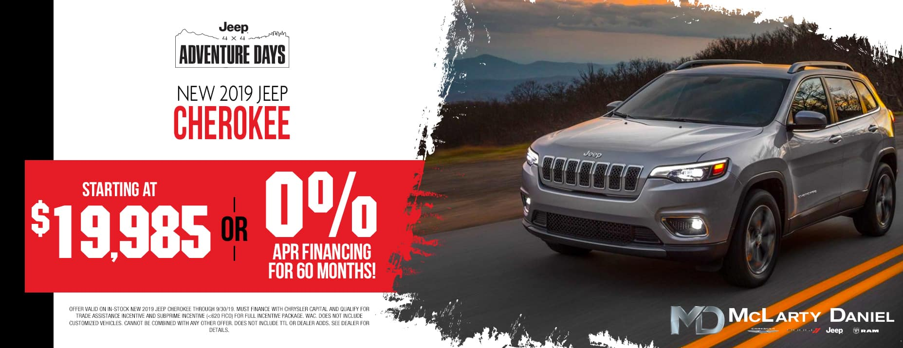 2019 Jeep Cherokee $19985 or 0% APR