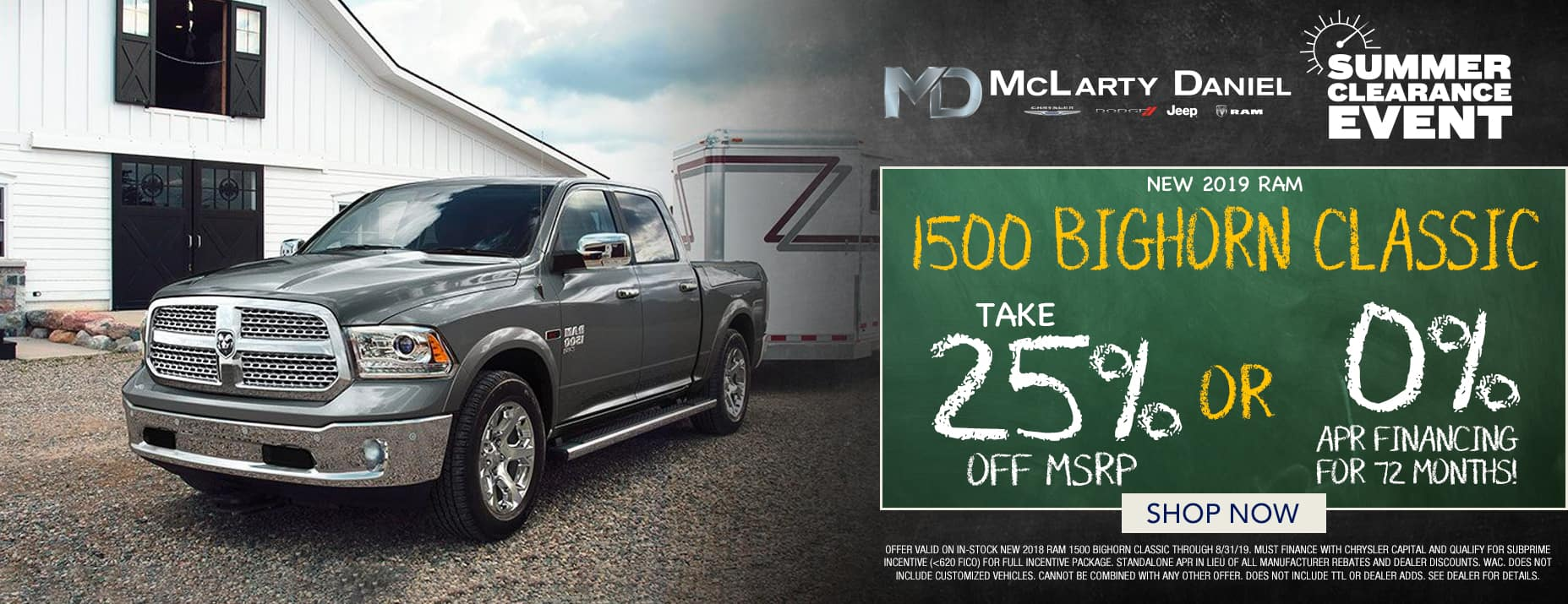 2019 Ram 1500 Classic 25% off msrp or 0% APR
