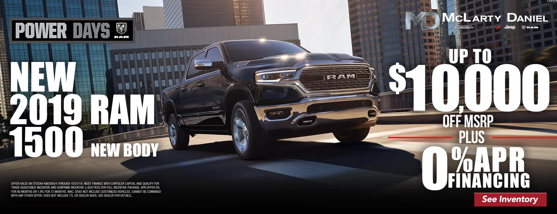 2019 Ram 1500 - Up to $10,000 off msrp -PLUS- 0% APR financing!