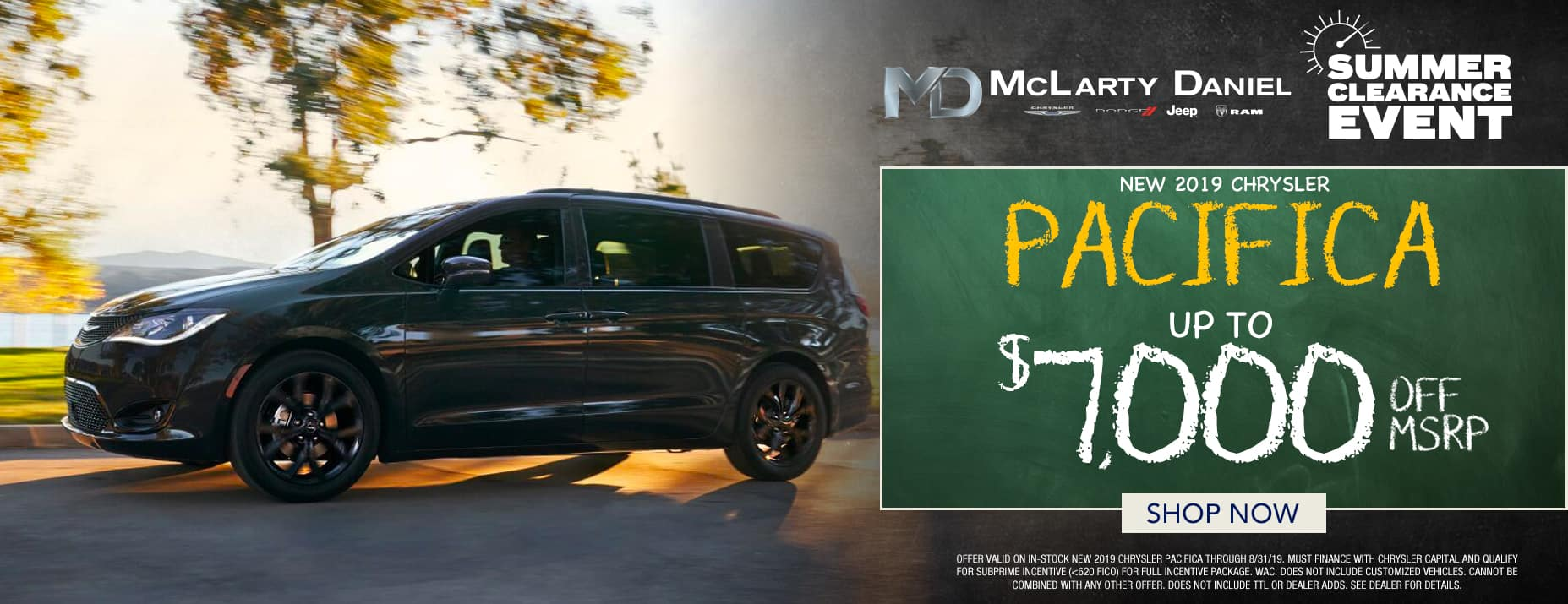 2019 Chrysler Pacifica $8,000 off msrp