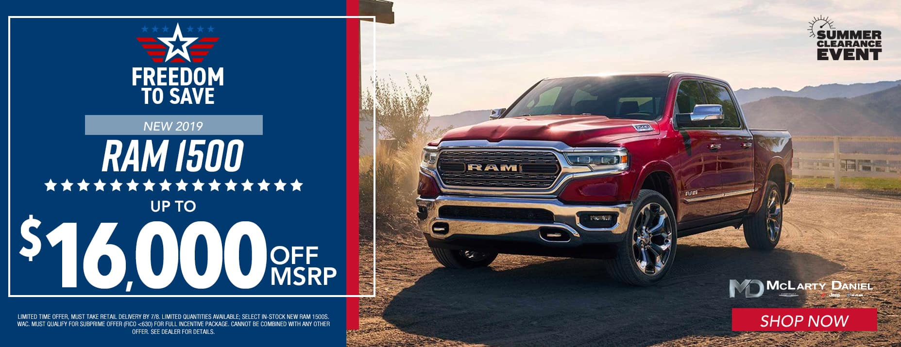 2019 Ram 1500, up to $15,000 off MSRP.