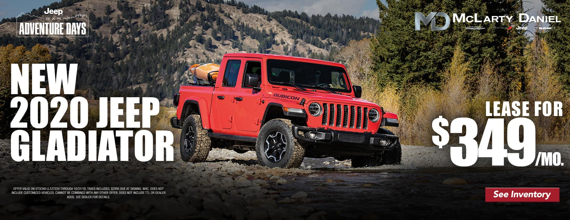 Jeep Gladiator lease for only $349/mo!