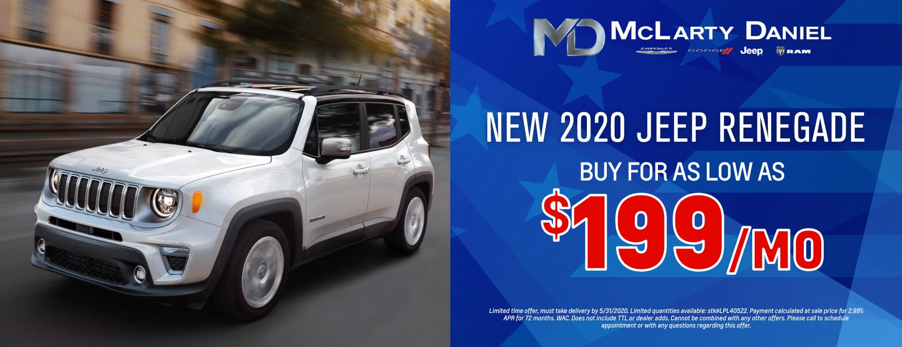 Buy a 2020 Renegade for as low as $199 per month!