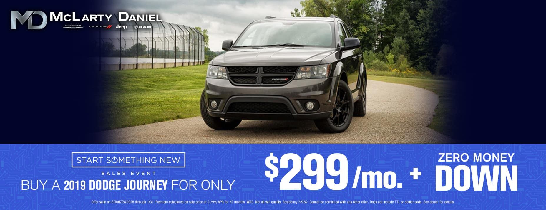 Buy a 2019 Dodge Journey for only $299/mo with no money down!