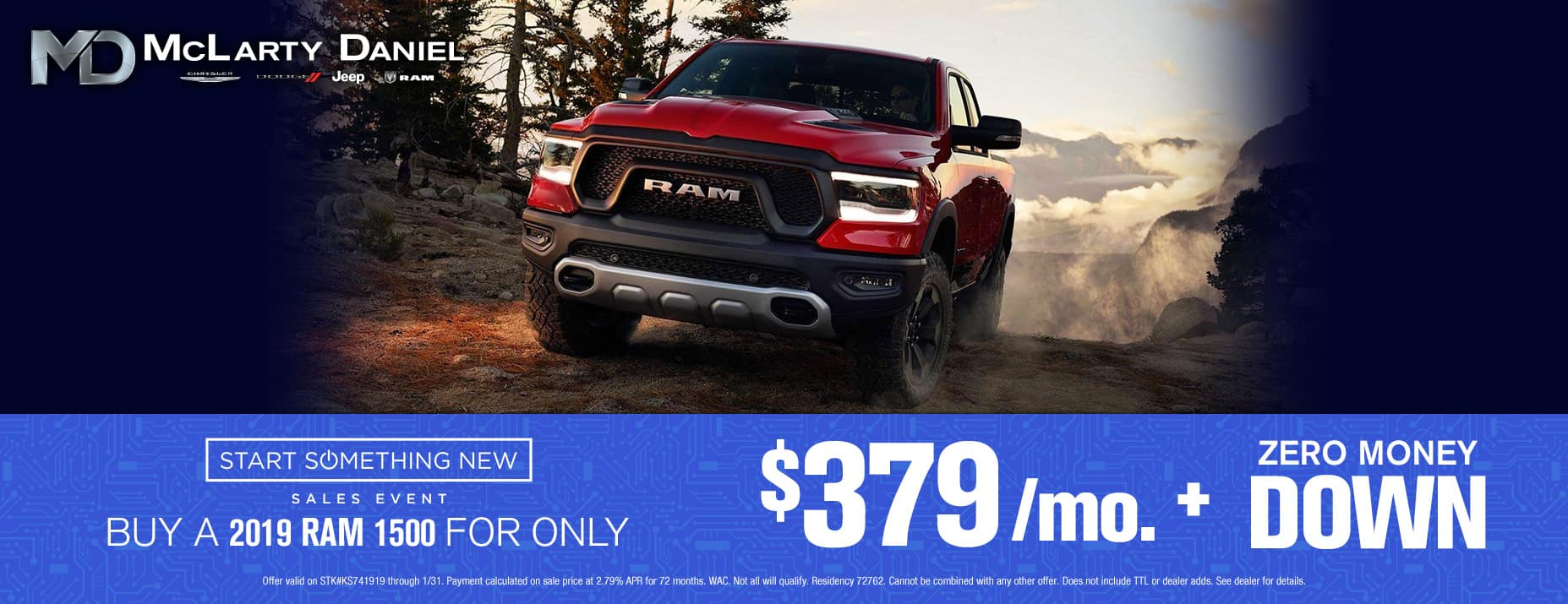 Buy a 2019 RAM 1500 for only $379/mo with no money down!