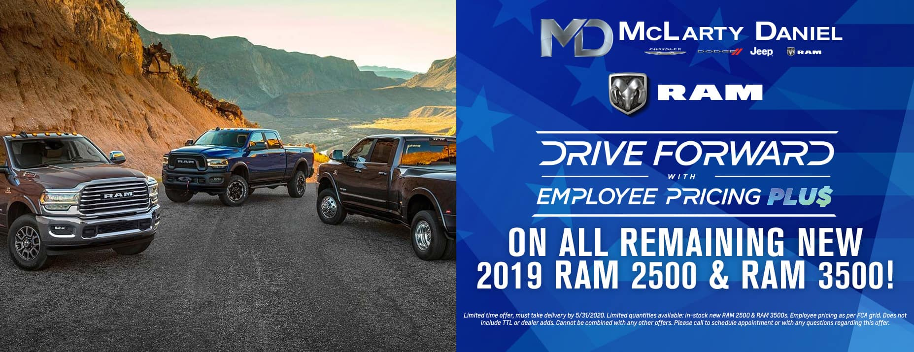 Get EMPLOYEE PRICING on all remaining new 2019 RAM 2500 & RAM 3500!