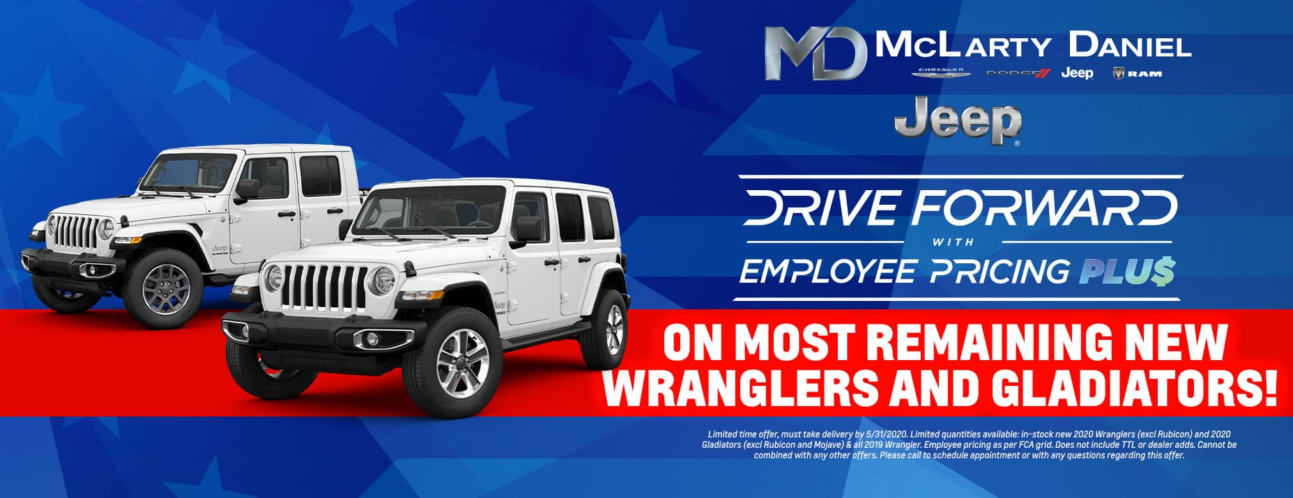 Get EMPLOYEE PRICING on mostremaining new Wranglers and Gladiators!