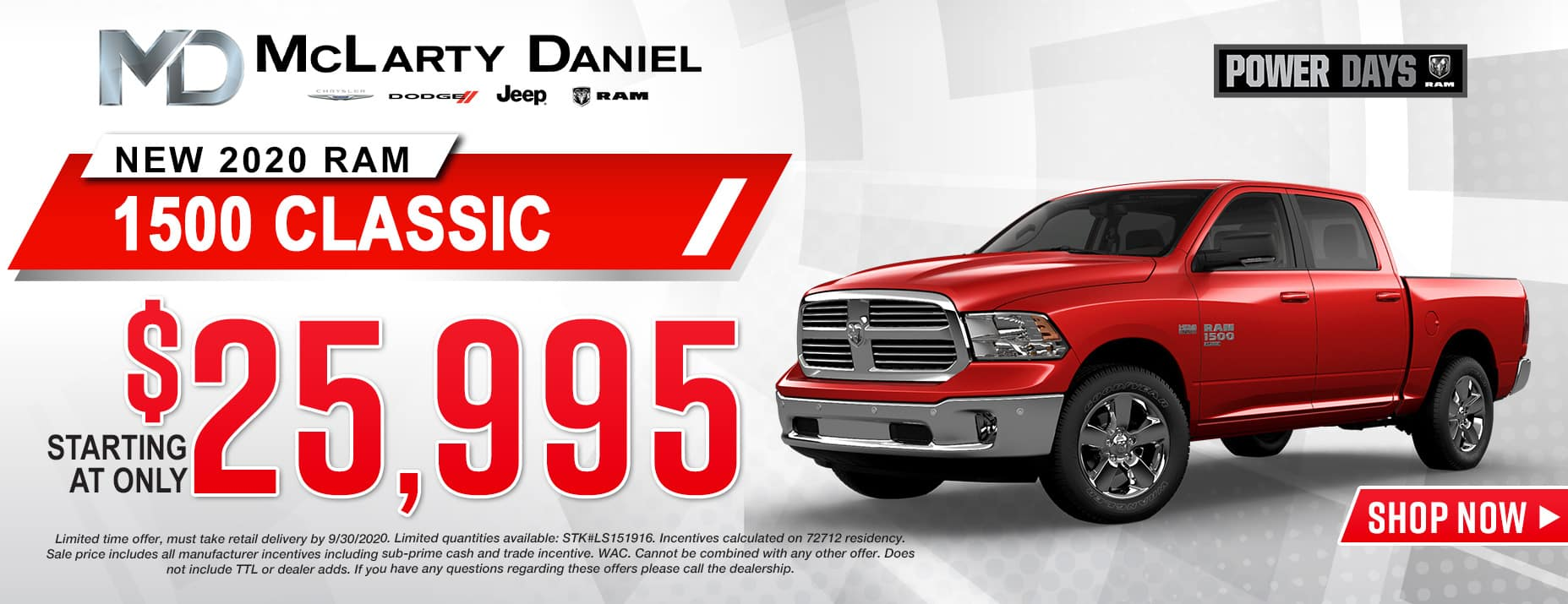 2020 RAM CLASSIC 1500 STARTING AT ONLY $25,995!