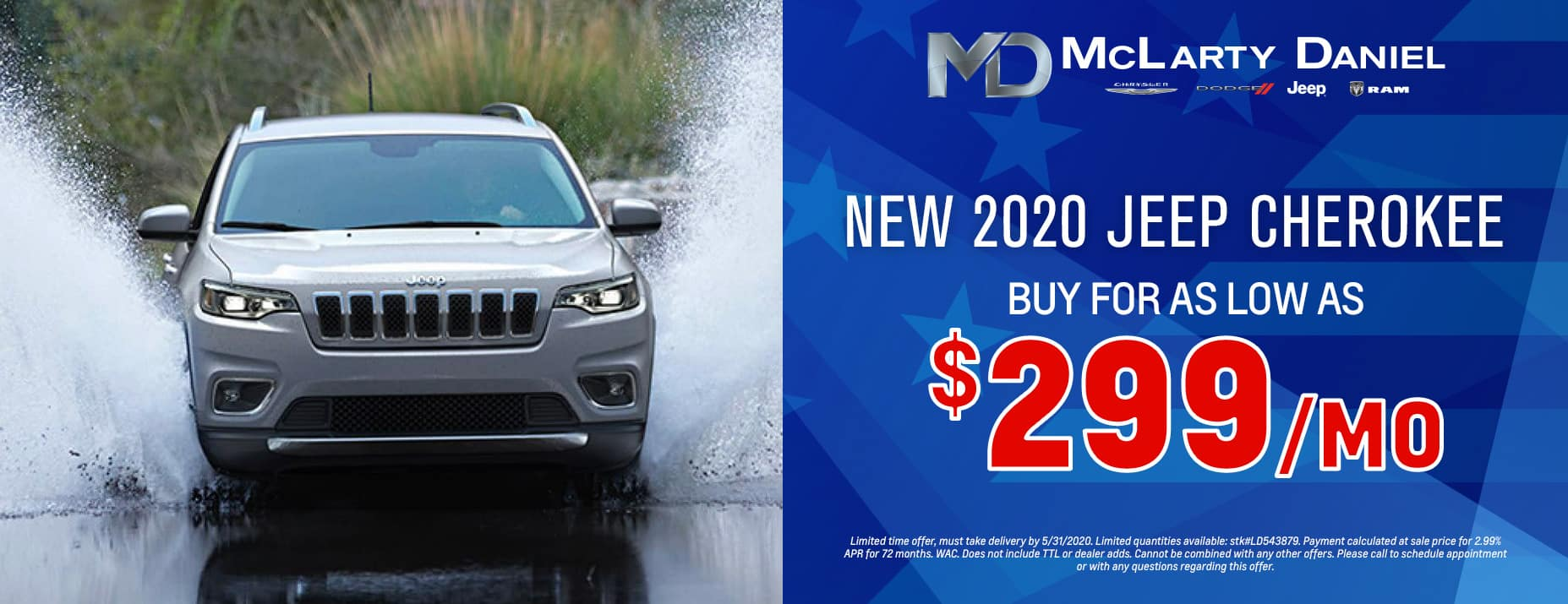 Buy a 2020 Cherokee for as low as $299 per month!