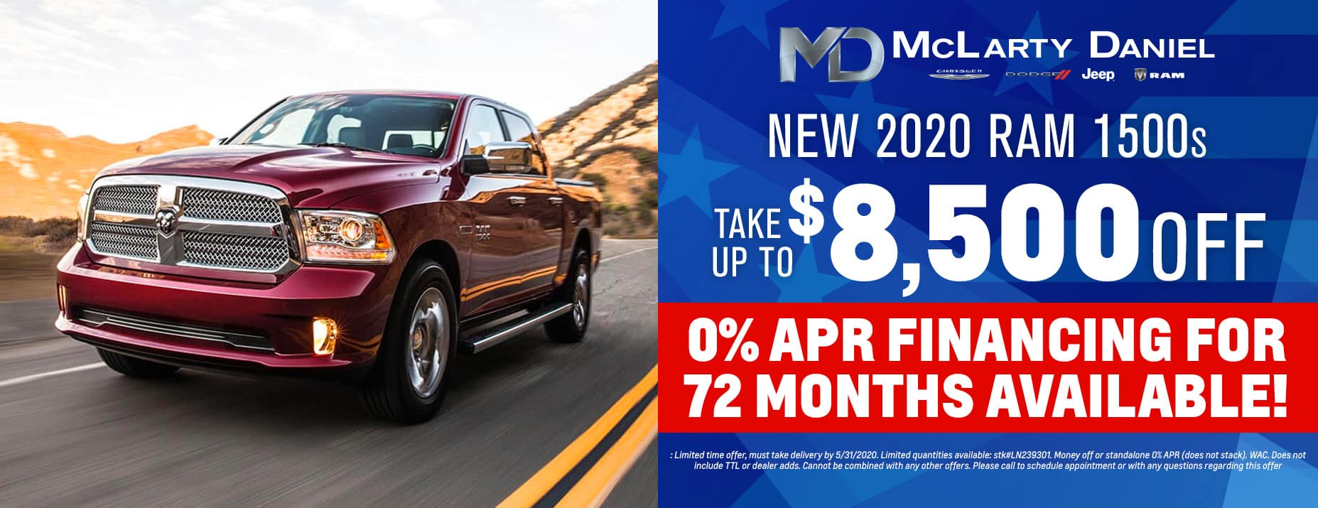 TAKE UP TO $8500 OFF 2020 ALL NEW RAM! 0% for 72 months available!