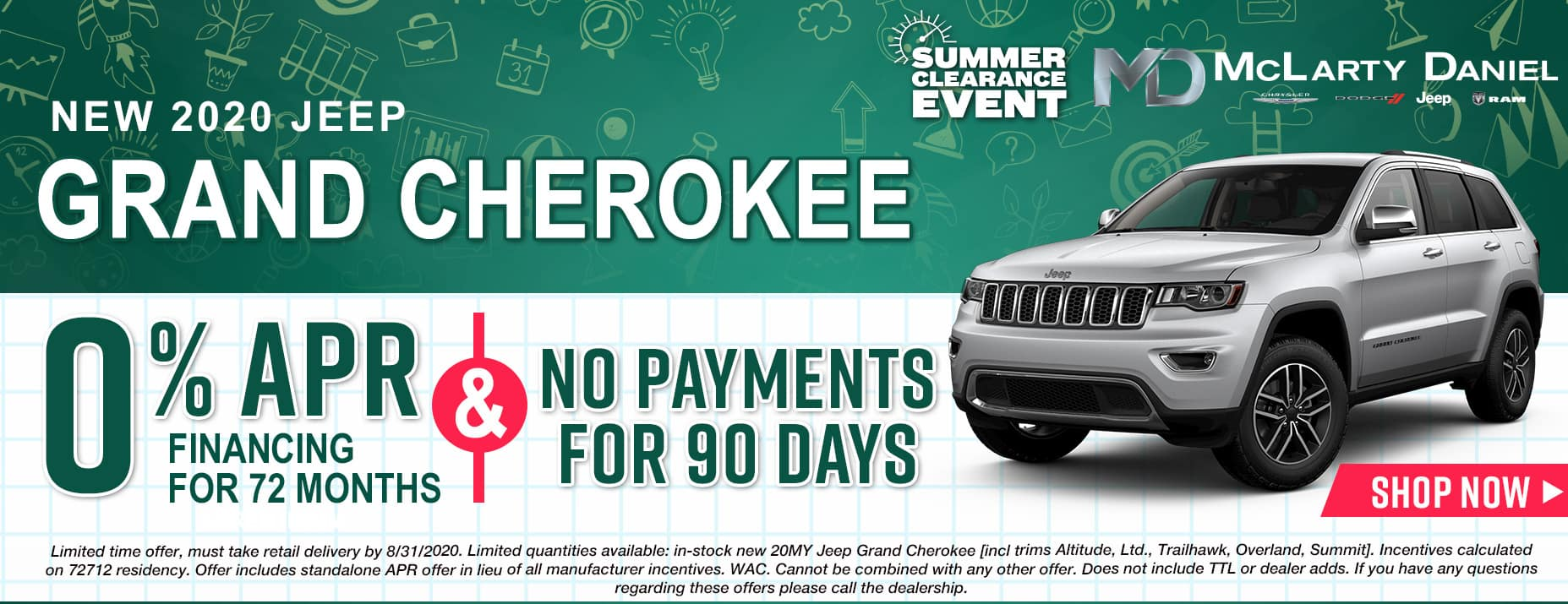 0% APR for 72 months and NO PAYMENTS FOR 90 DAYS available on 2020 Jeep Grand Cherokee!