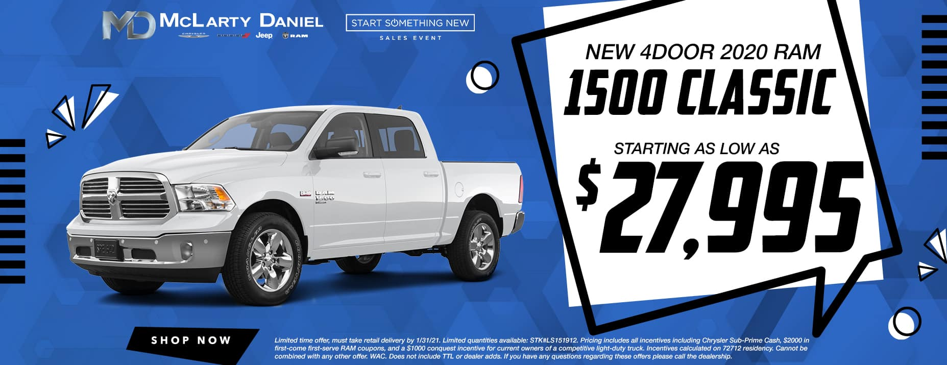 NEW FOUR DOOR 2020 RAM CLASSIC STARTING AS LOW A $27,995!
