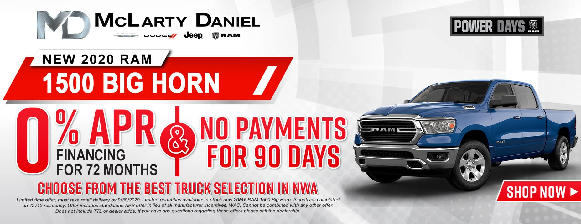 0% APR for 72 months and NO PAYMENTS FOR 90 DAYS available on 2020 RAM 1500 Big Horn! [CHOOSE FROM THE BEST TRUCK SELECTION IN NWA]