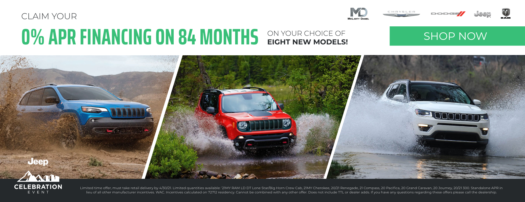 Get 0% APR for 84 months on your choice of 8 new models