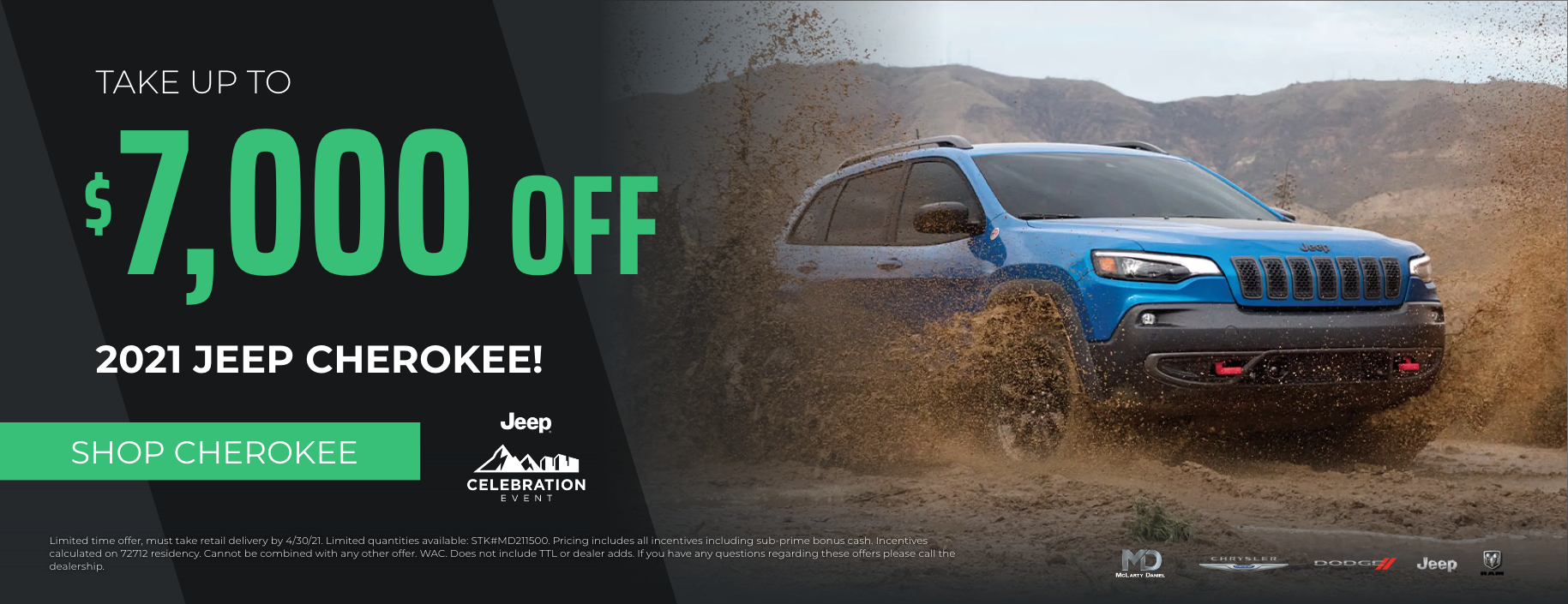 Take up to $7000 off 2021 Jeep Cherokee