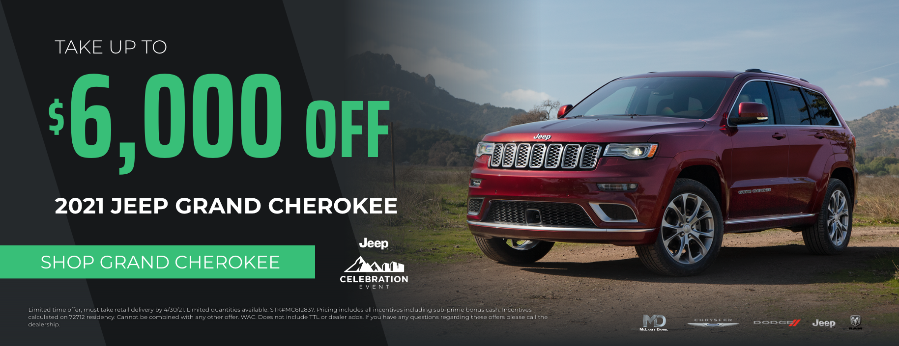 Take up to $6000 off 2021 Jeep Grand Cherokee