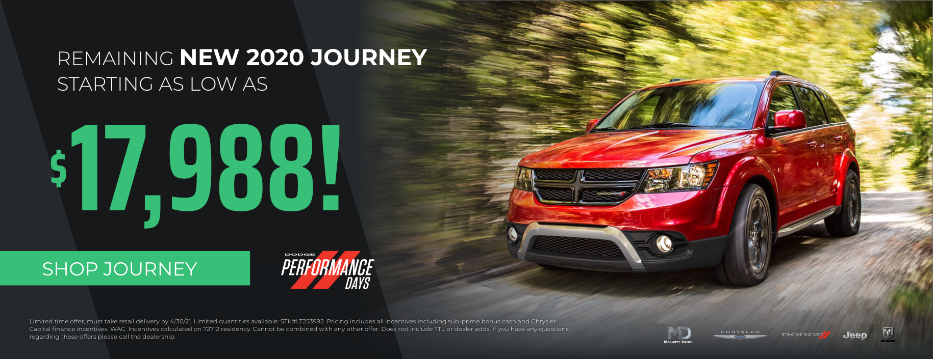 2020 Dodge Journey starting at only $17,988