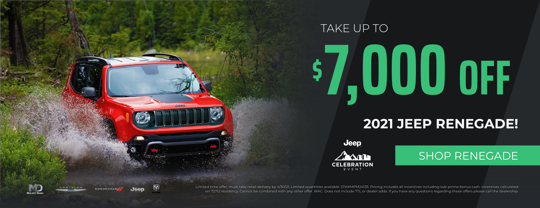 Take up to $7000 off 2021 Jeep Renegade