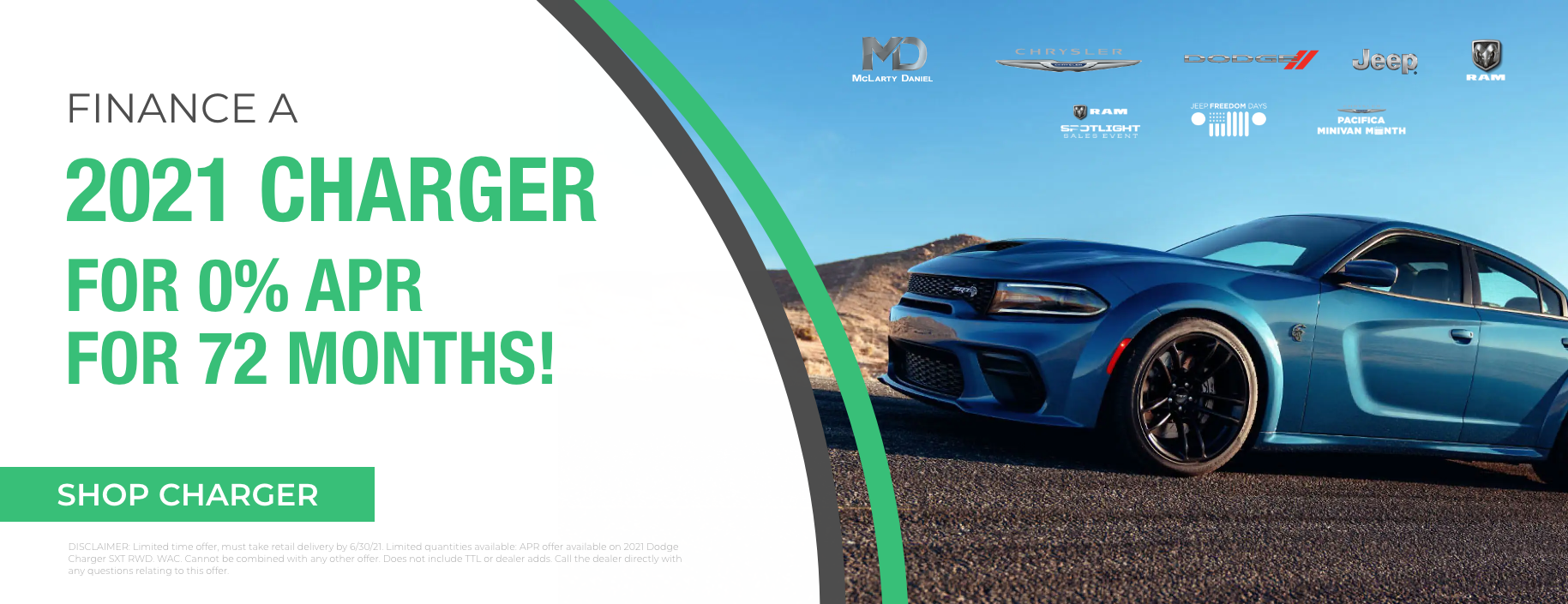 Finance a 2021 Charger for 0% APR for 72 months!