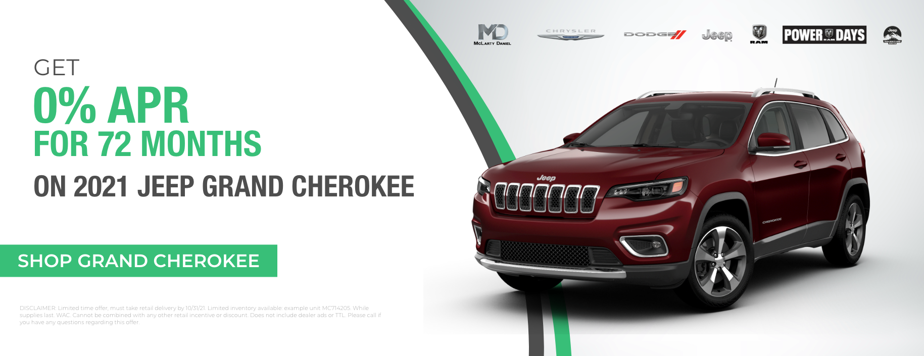 Get 0% for 72 months on 2021 Jeep Grand Cherokee!