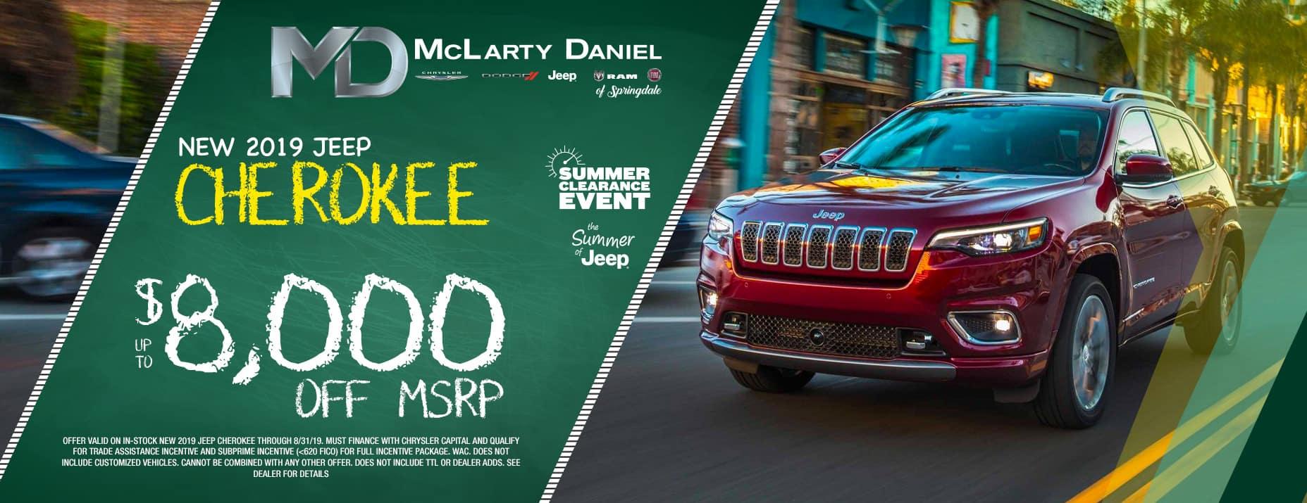2019 Jeep Cherokee  $8000 Off MSRP