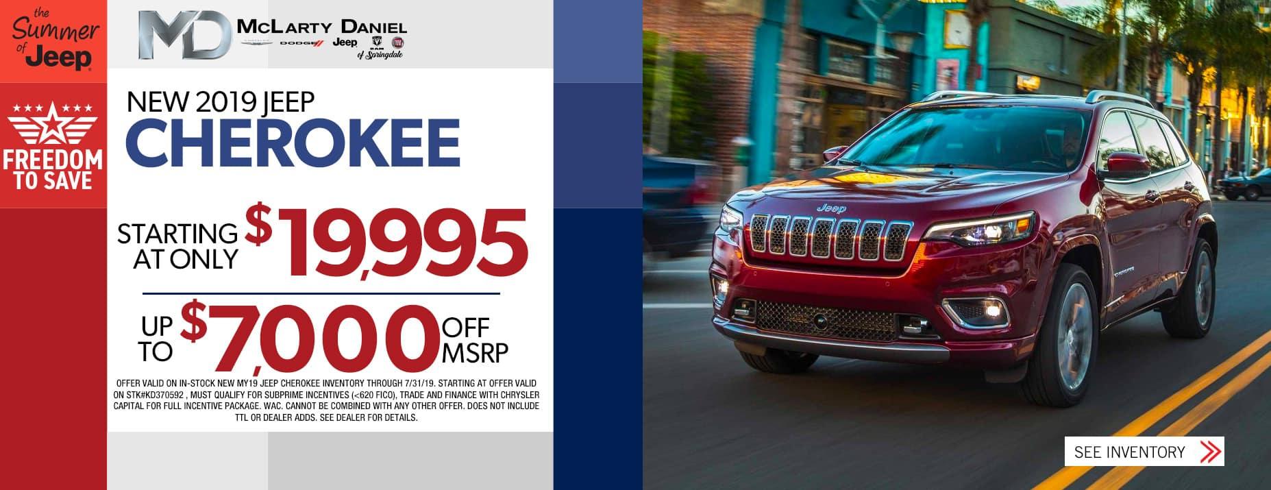 2019 Cherokee$19995  | $7000 Off MSRP