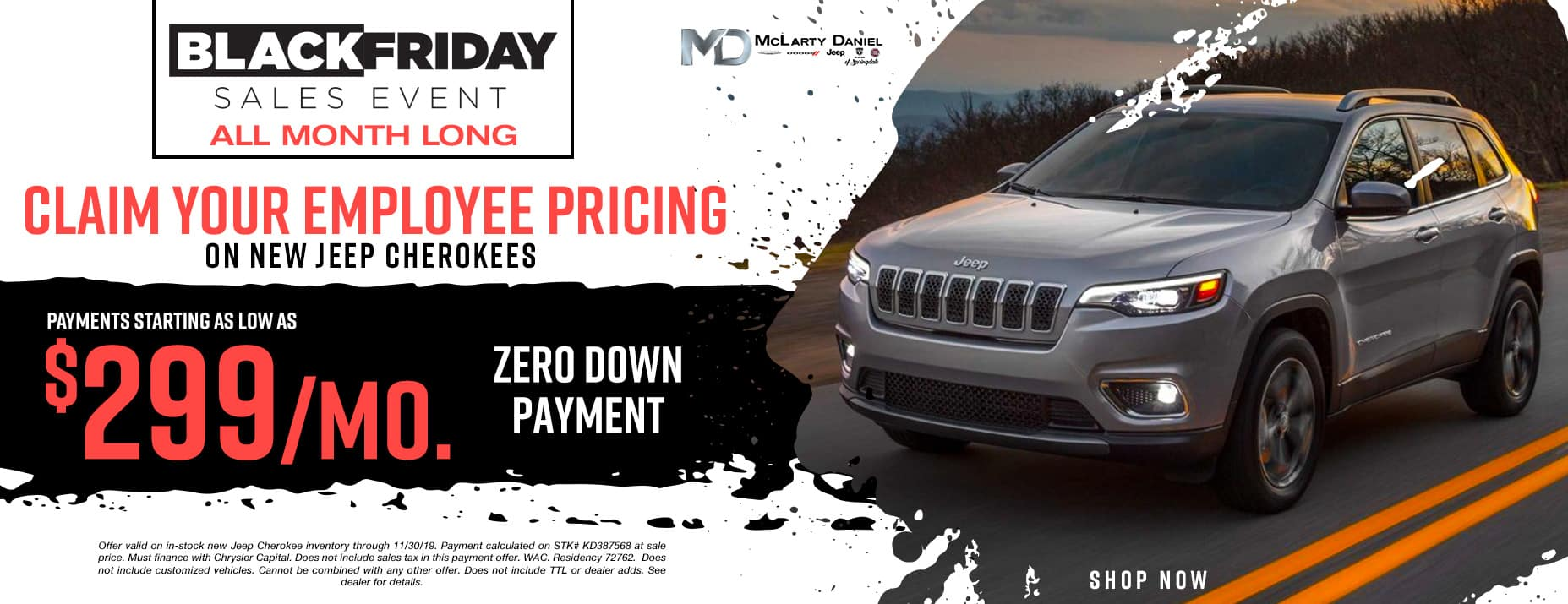 CLAIM YOUREMPLOYEE PRICING ON JEEP CHEROKEE - PAYMENTS STARTING AS LOW AS $299/mo, NO MONEY DOWN!