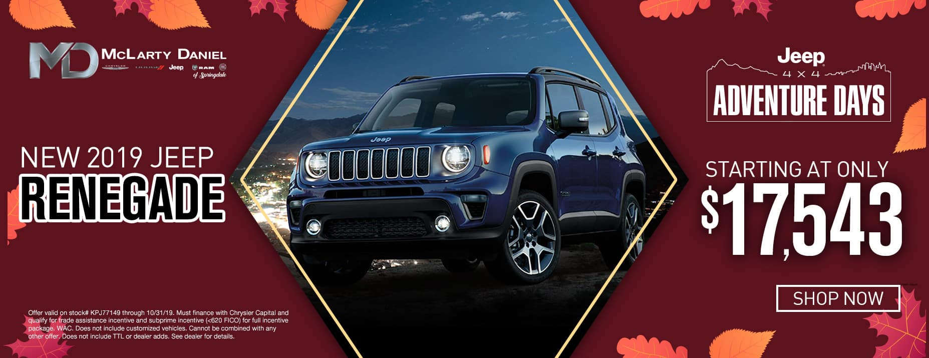 New 2019 Jeep Renegade, starting at only $17,543