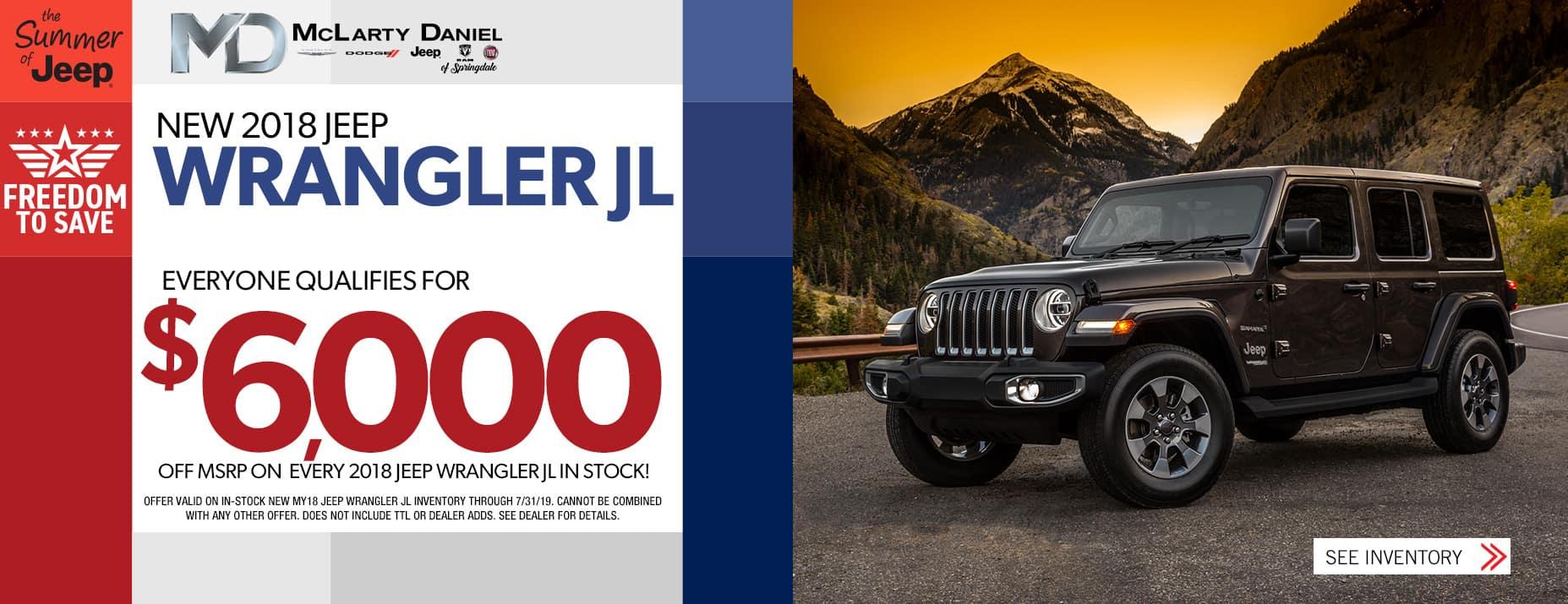 2018 Wrangler JL $6000 Off MSRP