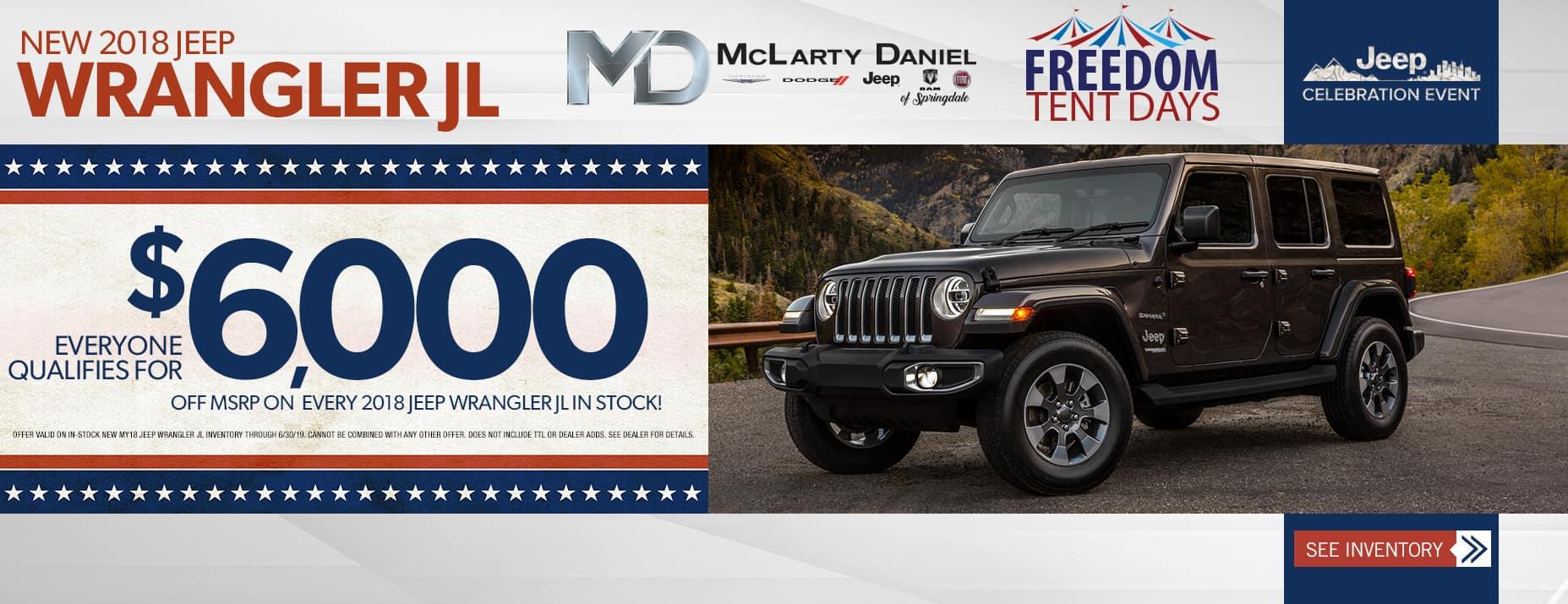 2018 Wrangler JL$6000 Off MSRP