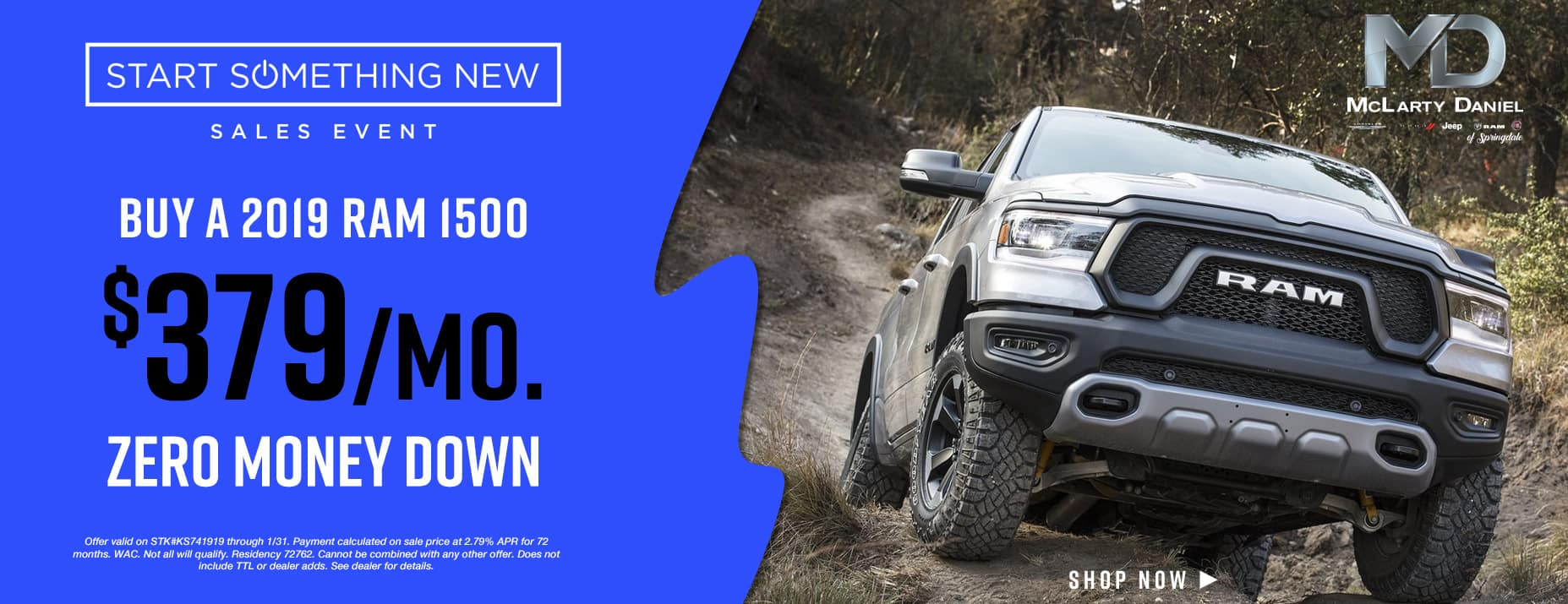 Buy a 2019 RAM 1500 for only$379/mo with no money down!