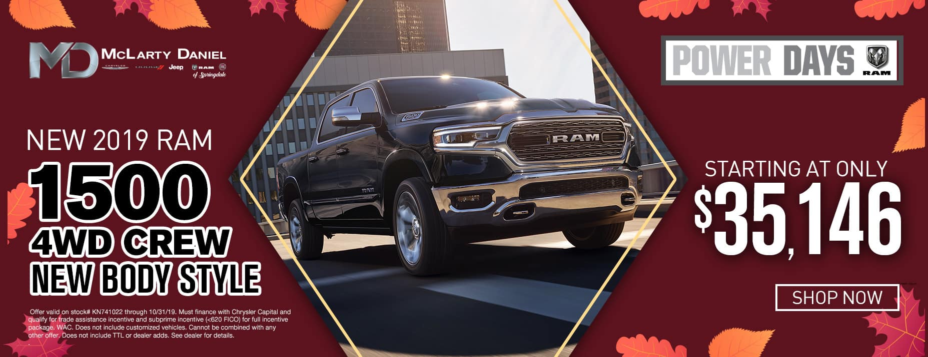 New 2019 Ram 4WD, starting at $35,146