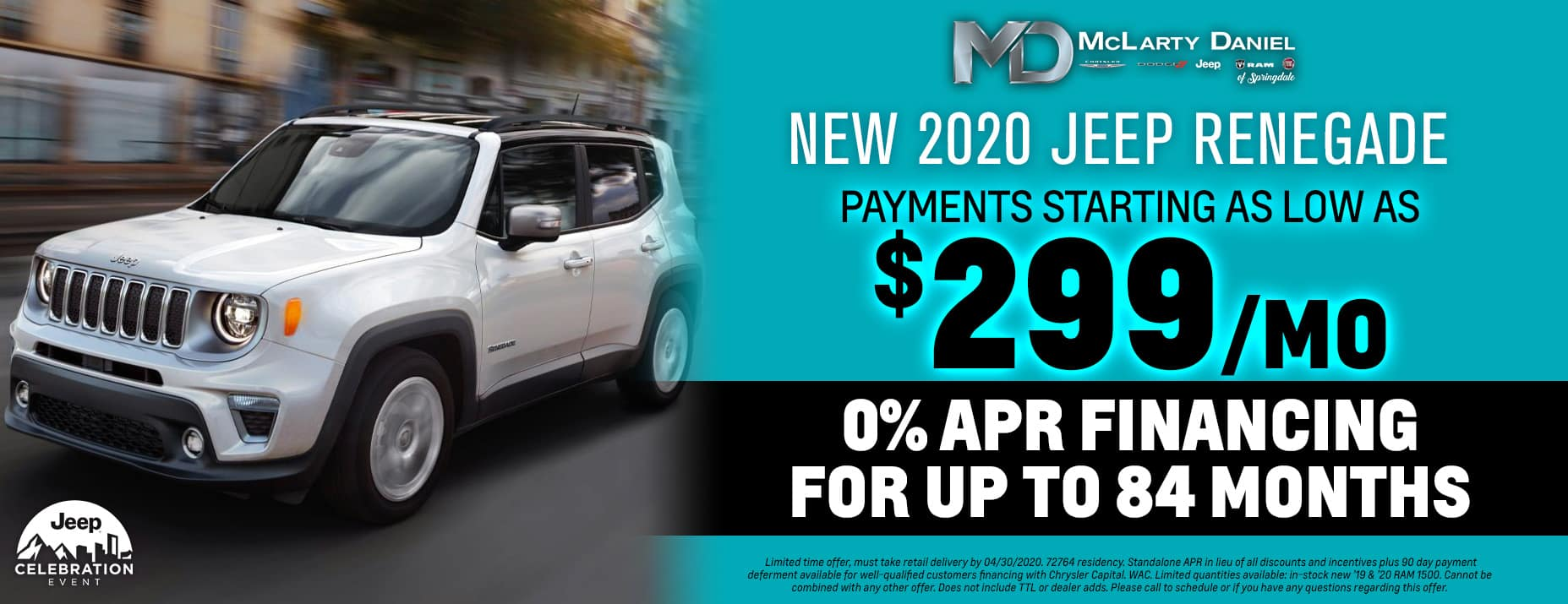 Get 0% for 84 months on 2020 Jeep Renegade - payments starting as low as $299/mo!