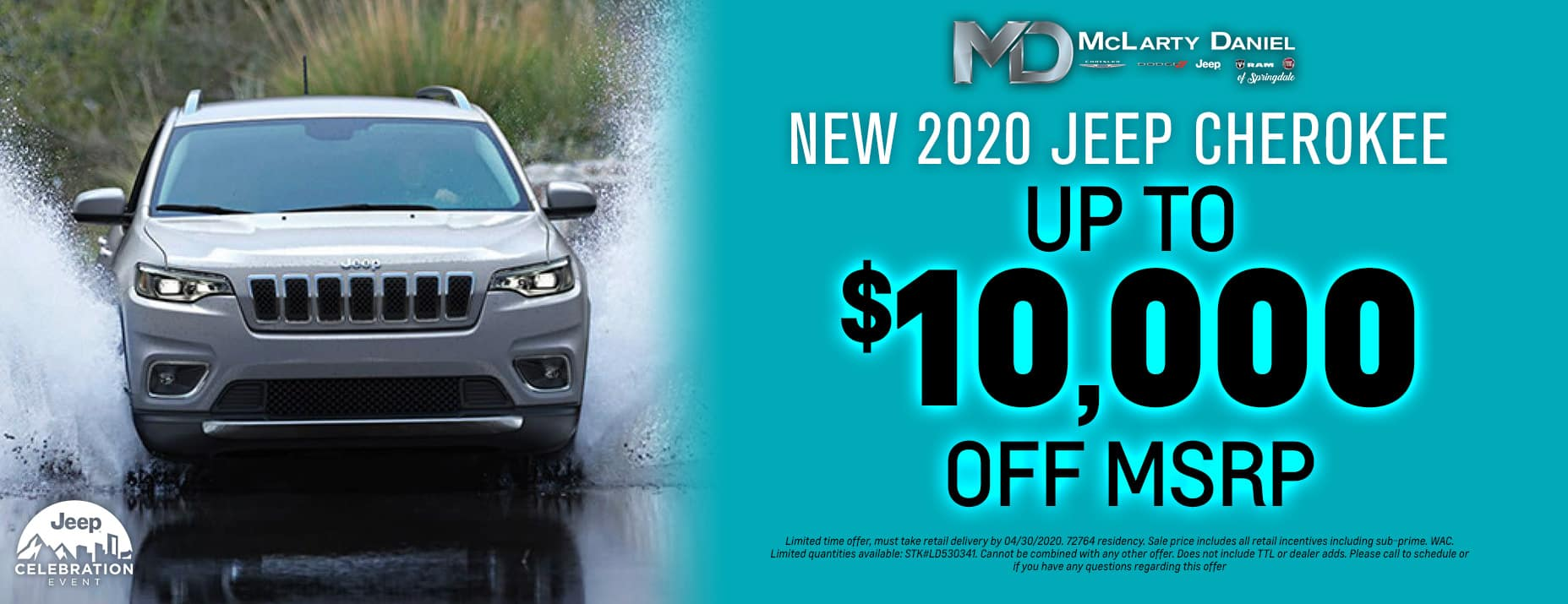 Take Up To $10,000 off 2020 Jeep Cherokee!