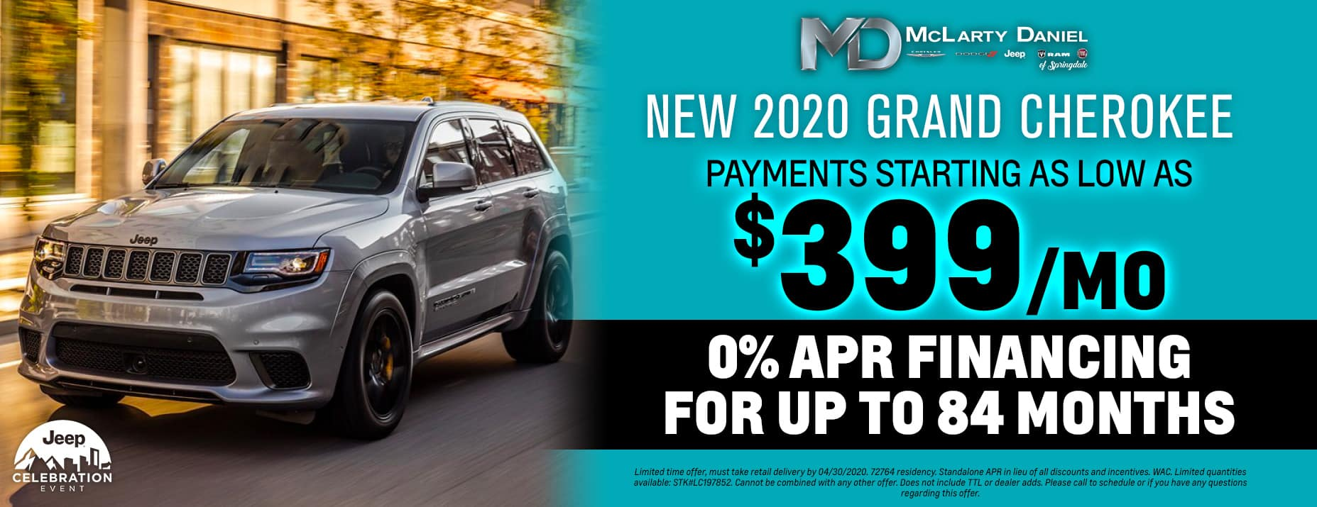 Get 0% for 84 months on 2020 Jeep Grand Cherokee - payments starting as low as $399/mo!