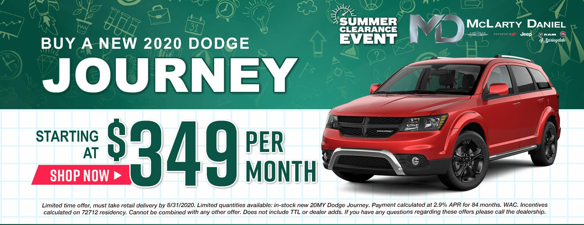 Buy a 2020 Journey starting at only $349/mo!