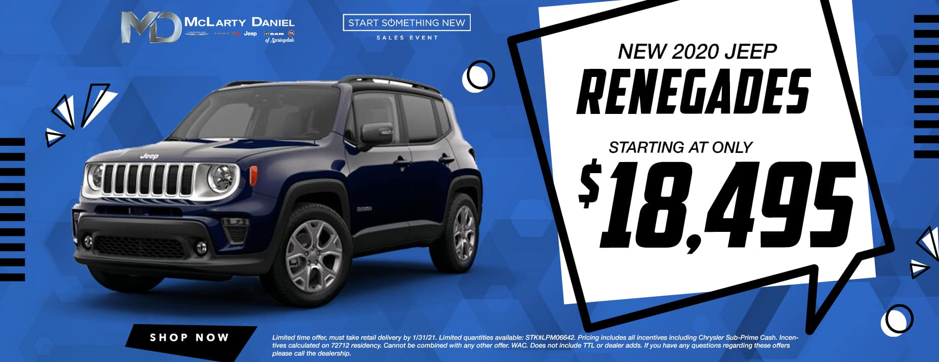 NEW 2020 RENEGADES STARTING AT ONLY $18,495!
