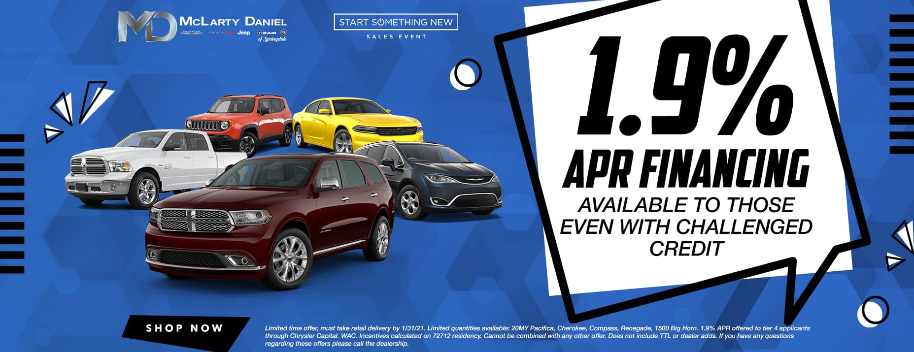 1.9% APR financing available to those even with challenged credit!