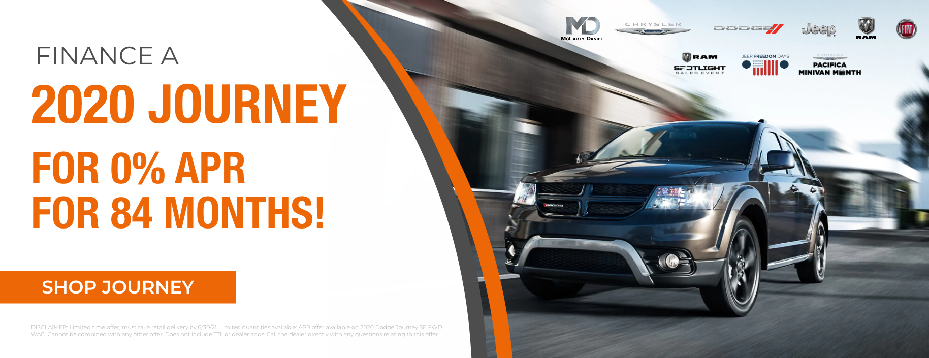 Finance a 2020 Journey for 0% APR for 84 months!