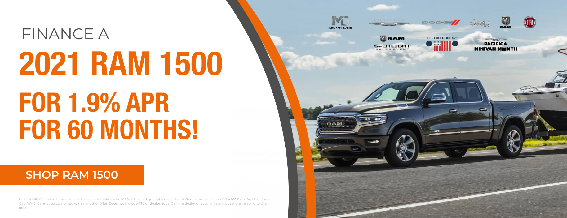 Finance a 2021 RAM 1500 for 1.9% APR for 60 months!