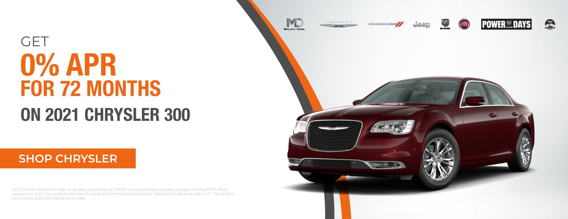 Get 0% for 72 months on 2021 Chrysler 300!