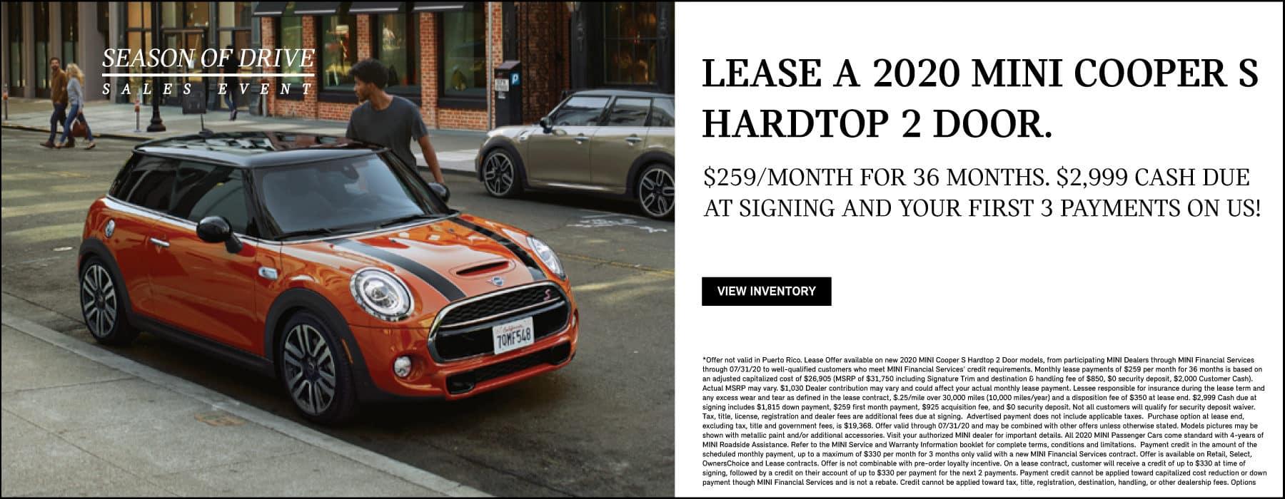 MINI Cooper S Hardtop 2 Door Lease offer