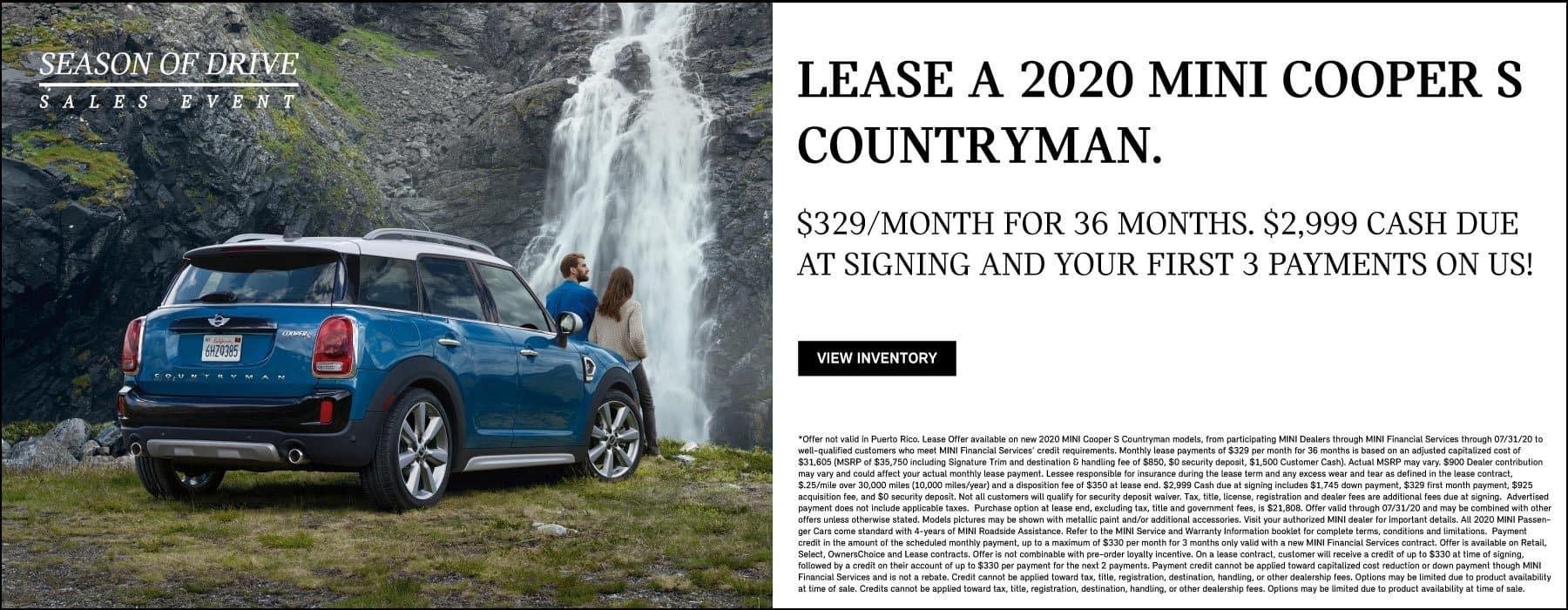 2020 MINI Cooper S Countryman Lease offer