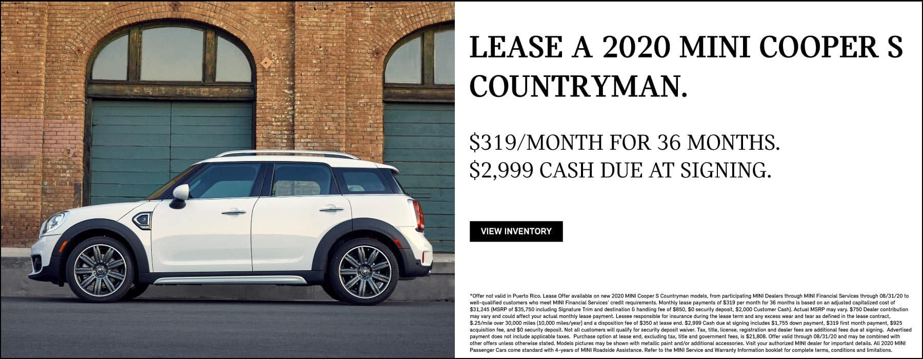 Lease a 2020 MINI Cooper S Countryman for $319/mo.