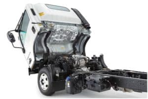 Easy access to the engine compartment with a tilt-cab design