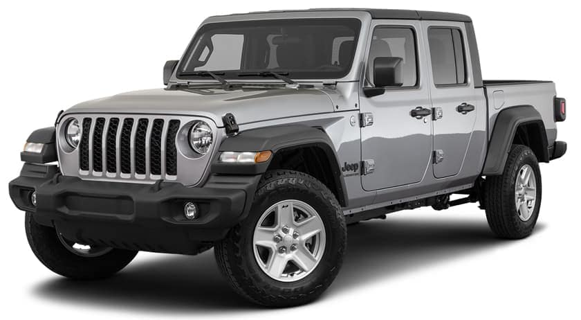 A silver 2020 Jeep Gladiator is facing left.